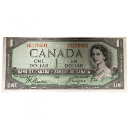 1954 Bank of Canada $1 Dollar Note Devil's Face Variety (Fine)