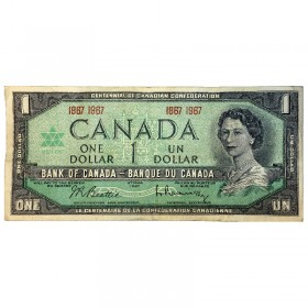 1967 (1867-) Bank of Canada $1 Dollar Date Note Centennial of Canadian Confederation (Circulated)