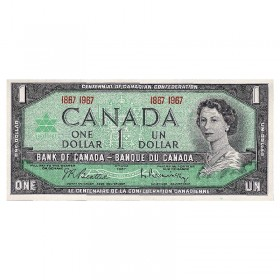 1967 (1867-) Bank of Canada $1 Dollar Date Note Centennial of Canadian Confederation (Uncirculated)