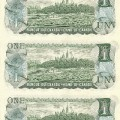 1973 Bank of Canada $1 Dollar Bill Multicoloured Series, Uncut Sheet (5 x 8 Format)