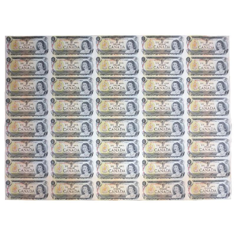 1973 bank of canada 1 dollar bill multicoloured series uncut sheet