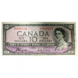 1954 Bank of Canada $10 Dollar Note Devil's Face Variety (Fine)