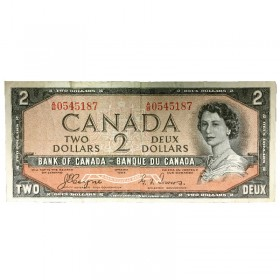 1954 Bank of Canada $2 Dollar Note Devil's Face Variety (Fine)