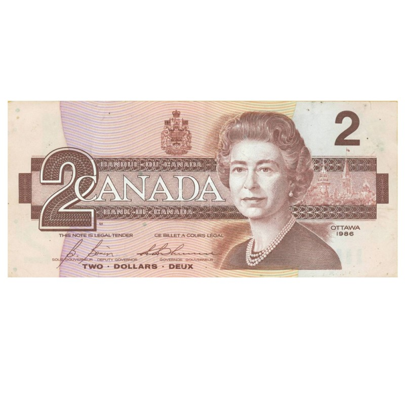 1986 Bank Of Canada 2 Dollar Bill Bird Series Circulated 100 Ct Bundle
