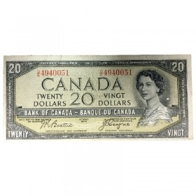 1954 Bank of Canada $20 Dollar Note Devil's Face Variety (Fine)