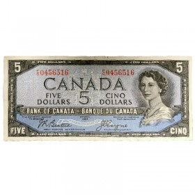 1954 Bank of Canada $5 Dollar Note Devil's Face Variety (Fine)