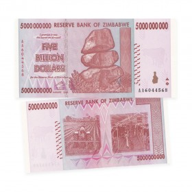 Reserve Bank of Zimbabwe $5 Billion Dollar Banknote (2008)