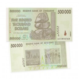2008 Reserve Bank of Zimbabwe $500 Thousand Dollar Bill Note