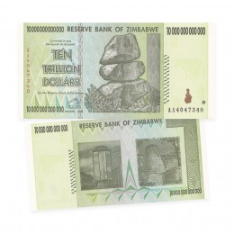 2008 Reserve Bank of Zimbabwe $10 Trillion Dollar Bill Note