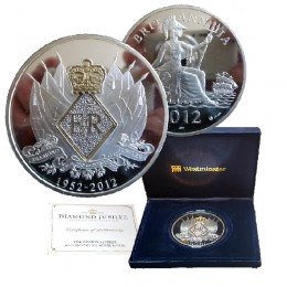 2012 Great Britain Queen Elizabeth II Diamond Jubilee 60-Diamond 5 oz Silver Medal