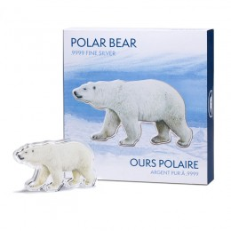 2017 Canadian Real Shape Iconic Canada: Polar Bear 100 g Fine Silver Medallion