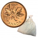 1959 Canadian 1-Cent Maple Leaf Twig Penny 2000-Coin Original Bank Deposit Bag (Brilliant Uncirculated)