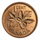 1960 Canadian 1-Cent Maple Leaf Twig Penny Coin (Brilliant Uncirculated)