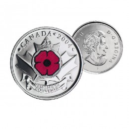 2004 P Canada 25-cent Coloured Remembrance Day Poppy (Brilliant Uncirculated)