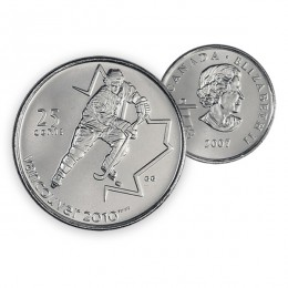2007 Canada Vancouver 2010 Olympics 25-cent Ice Hockey (Brilliant Uncirculated)