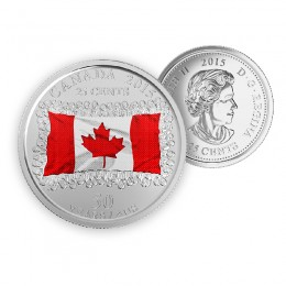 2015 Canada 25 Cent Circulation Coin - 50th Anniversary of the Canadian Flag Coloured (Brilliant Uncirculated)