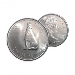 1967 (1867-) Canada 50 Cent Silver Coin - Confederation Commemorative Howling Wolf (Circulated)