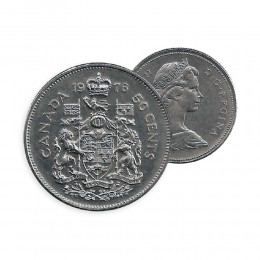 1976 Canada 50 Cent Coin - Coat of Arms (Circulated)