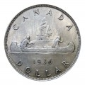 1936 Canadian $1 Voyageur Silver Dollar Coin (Circulated)