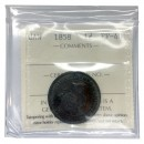 1858 Canadian 1 Cent Large Penny Coin ICCS Graded EF-40