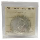 1935 Canadian $1 Silver Dollar Voyageurs / 25th Anniv Commemorative Coin ICCS Graded MS-64