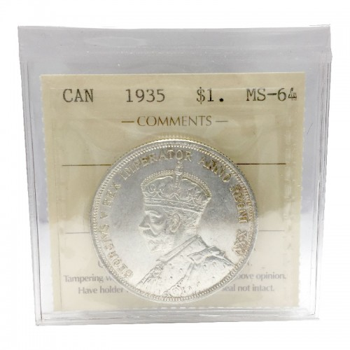 1935 Canadian $1 Voyageur/25th Anniv Commemorative Silver Dollar Coin ICCS Graded MS-64