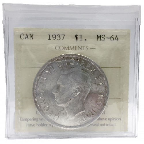 1937 Canadian $1 Silver Dollar Voyageurs Coin ICCS Graded MS-64
