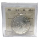 1938 Canadian $1 Silver Dollar Voyageurs Coin ICCS Graded MS-63