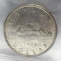 1938 Canadian $1 Voyageur Silver Dollar Coin ICCS Graded MS-63