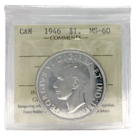 1946 Canadian $1 Voyageur Silver Dollar Coin ICCS Graded MS-60
