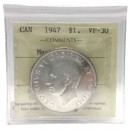1947 MAPLE LEAF Canadian $1 Silver Dollar Voyageurs Coin ICCS Graded VF-30