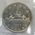 1948 Canadian $1 Silver Dollar Voyageurs Coin ICCS Graded AU-58