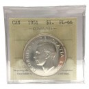 1952 NO WATER LINES Canadian $1 Voyageur Proof-like Uncirculated Silver Dollar Coin ICCS Graded PL-63