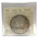 1953 NO SHOULDER FOLD (NSF) Canadian $1 Voyageur Silver Dollar Coin ICCS Graded MS-64