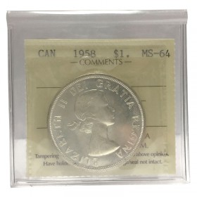 1958 (1858-) Canadian $1 British Columbia Centennial Silver Dollar Coin ICCS Graded MS-64