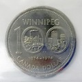 1974 (1874-) DOUBLE YOKE #2 Canadian $1 Winnipeg Centennial Dollar Coin ICCS Graded MS-64