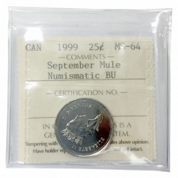 1999 MULE Canadian 25-Cent September: Canada Through a Child's Eye Millennium Quarter Coin ICCS Graded MS-64