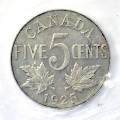 1925 Canadian 5 Cents Nickel Coin ICCS Graded VF-30