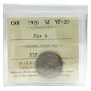 1926 FAR 6 Canadian 5 Cents Nickel Coin ICCS Graded VF-20
