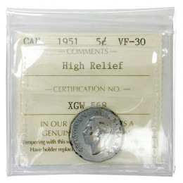 1951 HIGH RELIEF Canadian 5 Cents Steel Nickel Coin ICCS Graded VF-30