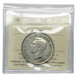1947 MAPLE LEAF CURVED 7 Canadian 50 Cents Silver Half Dollar Coin ICCS Graded F-15