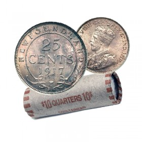 1917 Newfoundland 25-Cent Silver Quarter Coin Roll (Circulated)
