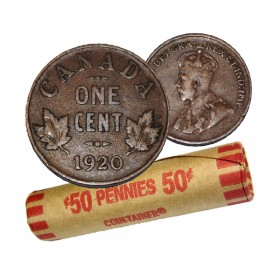 1920 Canadian 1-Cent Small Penny Coin Roll (Circulated)