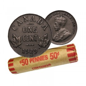 1929 Canadian 1-Cent Small Penny Coin Roll (Circulated)