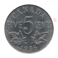 1936  Canada 5 Cents Nickel Roll (Circulated)