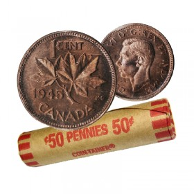 1945 Canadian 1-Cent Maple Leaf Twig Penny Coin Roll (Circulated)