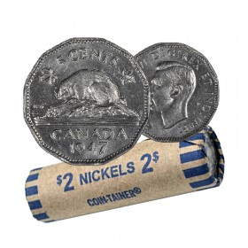 1947 Canadian 5-Cent Beaver Nickel Coin Roll (Circulated)