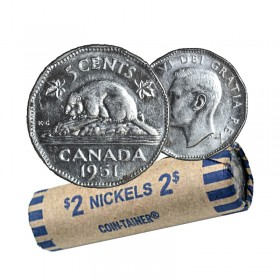 1951 Canadian 5-Cent Beaver Chrome/Nickel Coin Roll (Circulated)