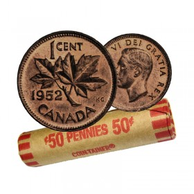 1952 Canadian 1-Cent Maple Leaf Twig Penny Coin Roll (Circulated)