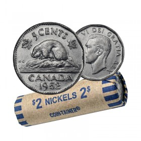 1952 Canadian 5 Cents Nickel Coin Roll (Circulated)